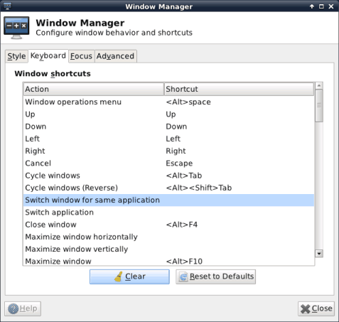 XFCE settings - Window Manager